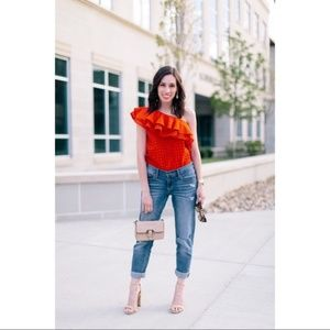 J. Crew One Shoulder Ruffle Red Eyelet Top 00
